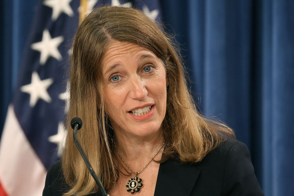 WASHINGTON, DC - JULY 22:  HHS Secretary Sylvia Mathews Burwell speaks during a news conference at the Treasury Department July 22, 2015 in Washington, DC. Treasury Department released the 2015 Social Security and Medicare Trustees Reports to Congress.  (Photo by Mark Wilson/Getty Images)