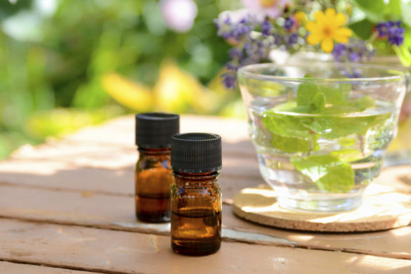 aromatherapy treatment with herbal tea at garden spa